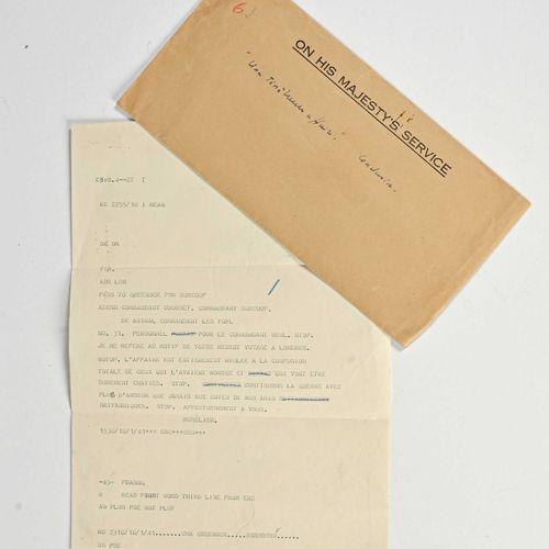 FRANCE Télégramme de l'Amiral Muselier au commandant du Courbet et du Surcouf s…
