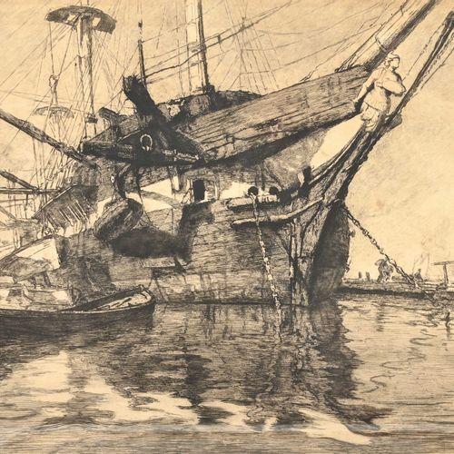 René Pinard (1883 1938) Navire au mouillage  Eau forte signée en bas à gauche et…