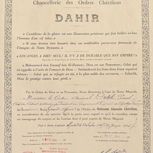 MAROC Dahir de Grand Officier du Ouissam Alaouîte au contre amiral Paul Ortoli. …