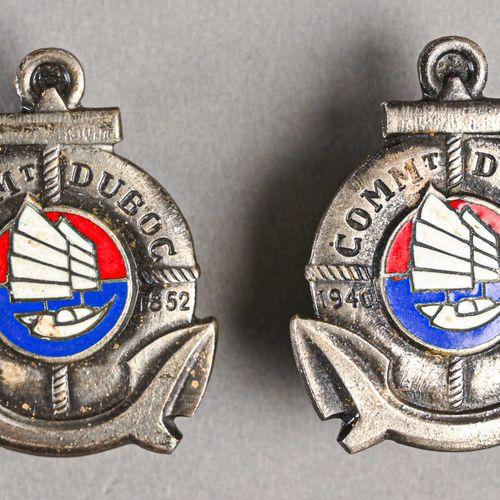 France Lot de deux insignes marine du Commandant Duboc  En métal et émail, fabri…