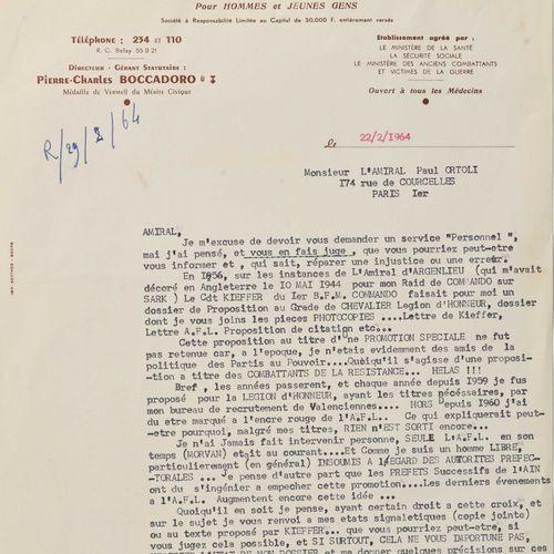 France Lettre d'un ancien du Commando Kieffer à l'amiral Ortoli  Daté 1964, dema…