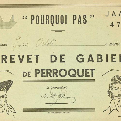 France Brevet de Gabier de perroquet pour le Jamboree de 1947 attribué à l'amira…