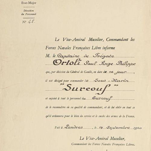 France Lettre de nomination du capitaine de frégate Ortoli comme commandant le s…
