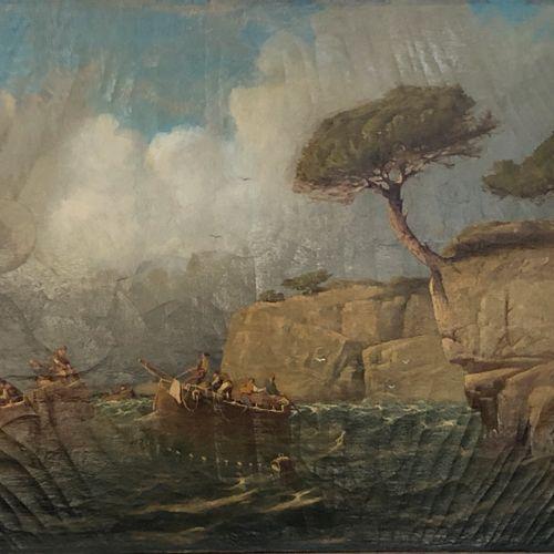 François GAUTIER (1842 1917) Pêcheurs en Méditerranée  Huile sur toile signée et…