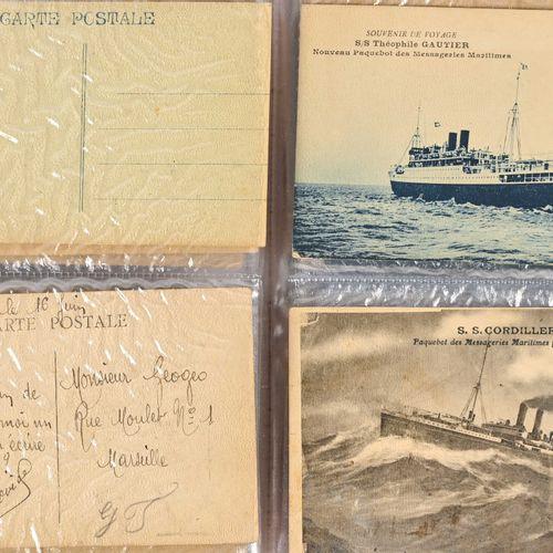 Ensemble de trente huit cartes postales : marine de guerre, marchande et tourism…