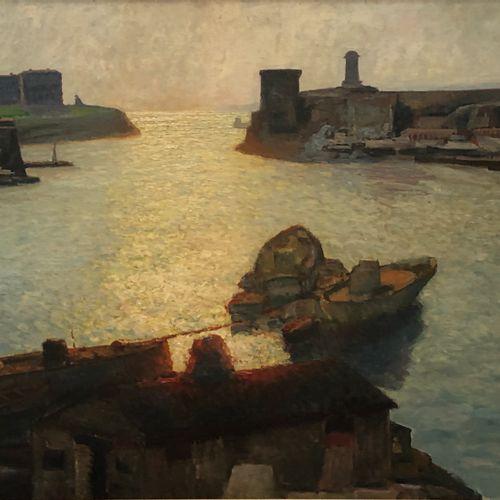 Jean de TCHORLOU (1892 1969) Coucher de soleil sur la sortie du port de Marseill…