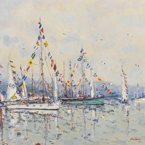 Jean Pierre DUBORD (1949 ) Parade de voiliers  Huile sur toile, signée en bas à …