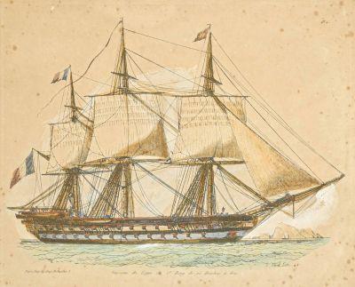 Deux gravures de goélettes et de vaisseaux sous verre H. 23 cm L. 27 cm