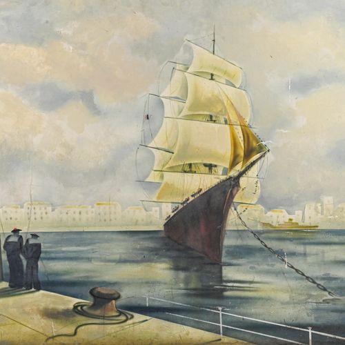 Ecole provençale moderne Matelot et bateaux dans le port de Marseille  Peinture …