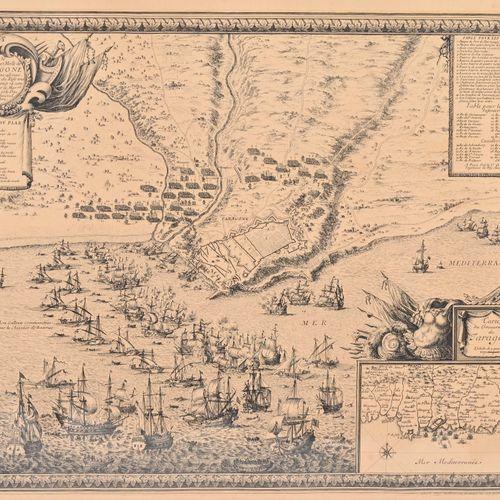 Gravure Vue de Marseille à l'époque Médiévale  H. 34 cm L. 46 cm  Une carte Préf…