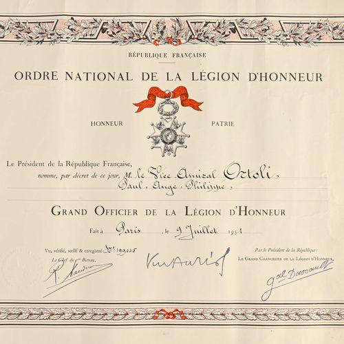 France Diplôme de Grand Officier de la Légion d'Honneur au vice Amiral Ortoli  I…