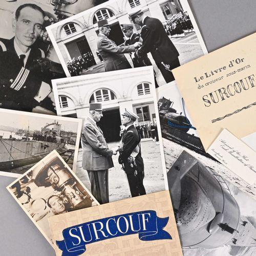 France Lot de photographies du Surcouf et de l'Amiral Ortoli  On y voit notammen…
