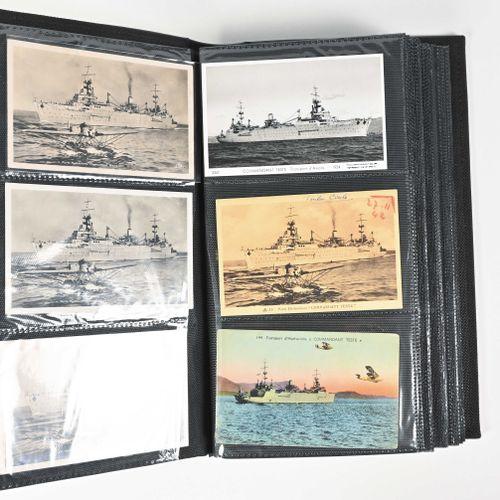 FRANCE Fort lot de cartes postales, timbres et photos du navire « Commandant Te…
