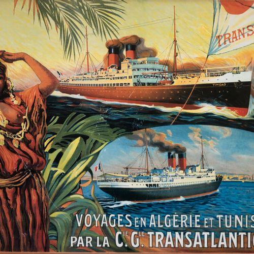D'après Dellepiane Affiche CGT Algérie et Tunisie contrecollée sur carton  H. 63…