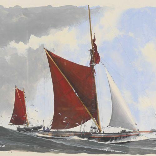 John PENDRAY (1937 ) Barge de la Tamise  Gouache signée en bas à gauche, datée 2…