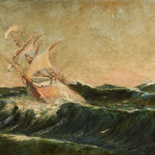 Joseph FAUST (1868 1934) D'après Frederick MONTENARD (1849 1926 )  Navire par gr…