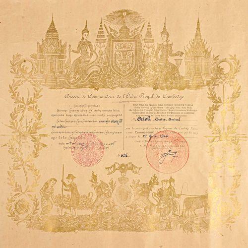 CAMBODGE Brevet de Commandeur de l'Ordre Royal du Cambodge au contre amiral Orto…