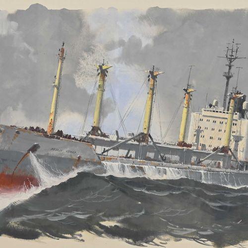 John PENDRAY (1937 ) Cargo russe en mer  Gouache signée en bas à gauche, datée 2…
