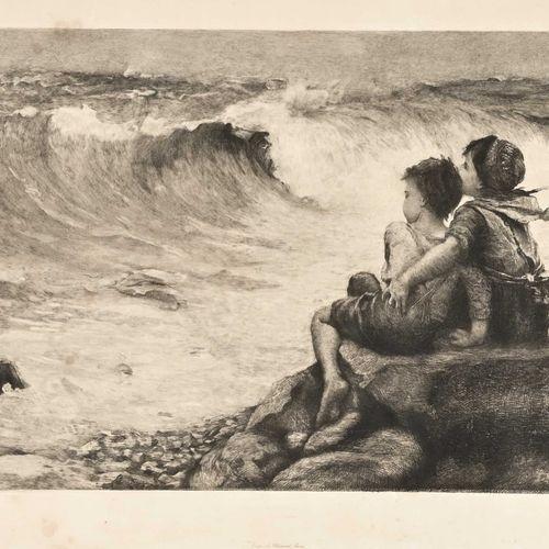SPINELLI La vague Eau forte d'après Demont Breton H. 30 cm L. 56 cm Sous ver…