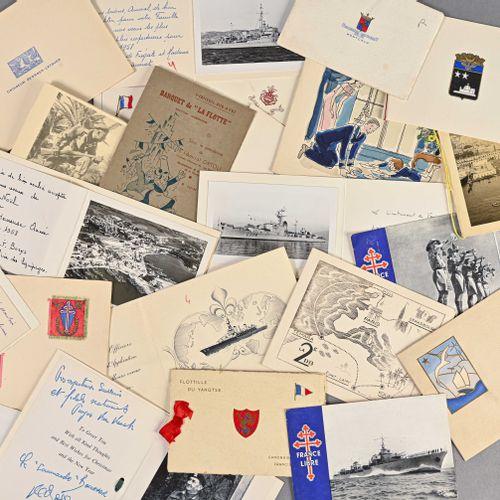 France Fort lot de cartes de voeux adressées à l'Amiral Ortoli  Dans les années …
