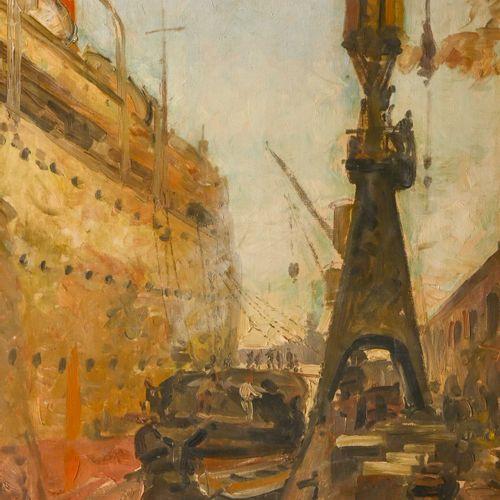 Jean LAIR (XX) Paquebot à quai  Huile sur toile signée en bas à droite  H. 75 cm…