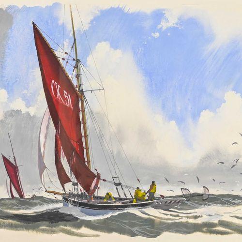 John PENDRAY (1937 ) Crevettier anglais  Gouache signée en bas à gauche, datée 2…