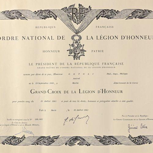 France Diplôme de Grand Croix de la Légion d'honneur attribué à l'Amiral Ortoli …