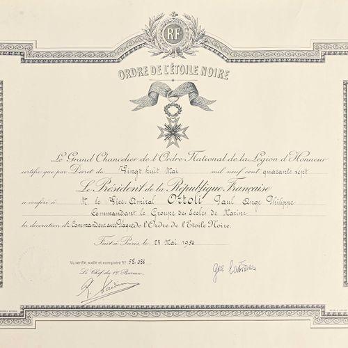 France Diplôme de Commandeur avec plaque de l'Ordre de l'Etoile noire du Bénin a…