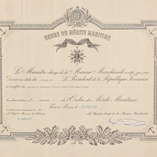 France Commandeur du mérite maritime de l'Amiral Paul Ortoli  En argent et émail…