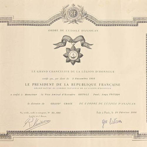 France Diplôme de Grand Croix de l'Ordre de l'Etoile d'Anjouan attribué au vice …
