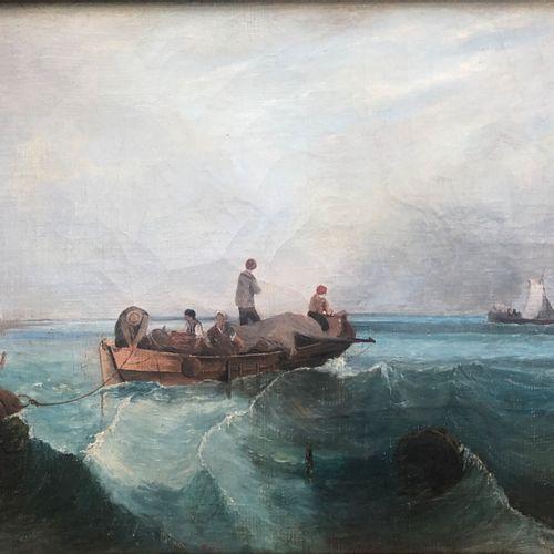Alain GAUDIN (1951 ) Pêcheurs levant les filets  Huile sur toile signée en bas à…