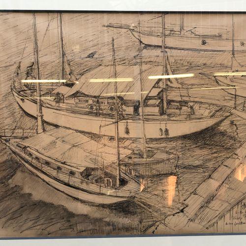 Jean de TCHORLOU (1892 1969) Vieux port de ma fenêtre,  Plume et lavis, monogram…