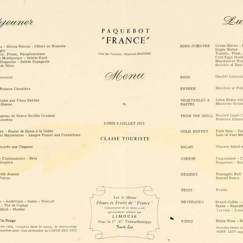 Menus de paquebot comprenant:   cinq menus du paquebot Le France   six menus du …