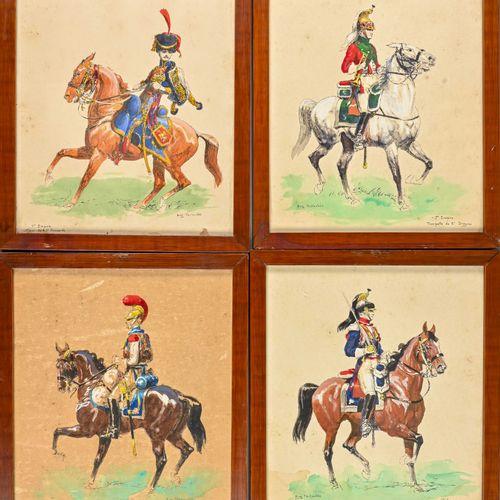 Eugène PECHAUBES (1890 1967) Quatre chevaliers d'Empire  Gouache sur trait gravé…