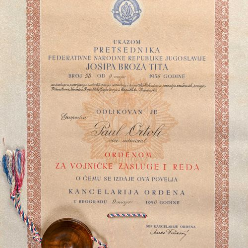 Yougoslavie Diplôme de mérite militaire de première classe attribué à l'Amiral O…