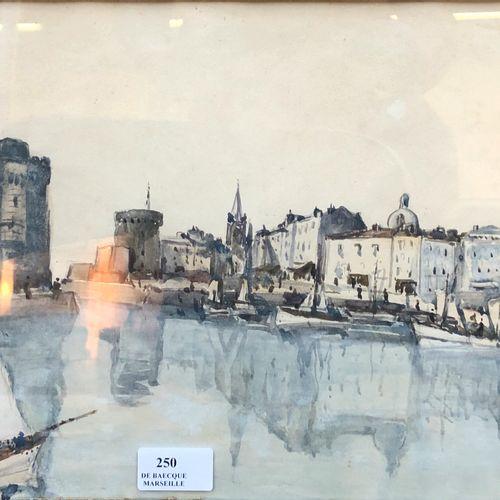 Alphonse QUIZET (1885 1955) Le port de La Rochelle  Aquarelle, signée en bas à d…
