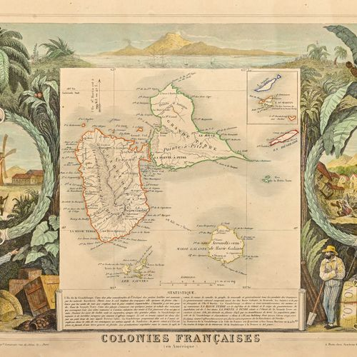 Colonies françaises (en Amérique) Lithographie en couleur  H. 31 cm L. 46 cm (so…