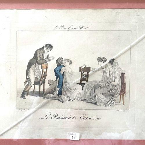 D'après DUTAILLY gravé par SCHENKER  Le baiser à la capucine  Gravure en couleur…