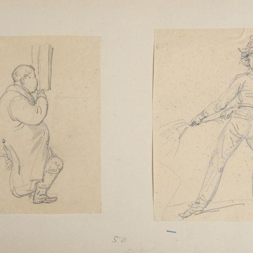 Attribué à Carle VERNET (1758 1836)  Deux feuilles sur un même montage : homme l…