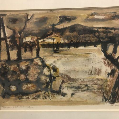 Raymond GUERRIER(1920 2002)  Paysage provençal  Lithographie  Signée