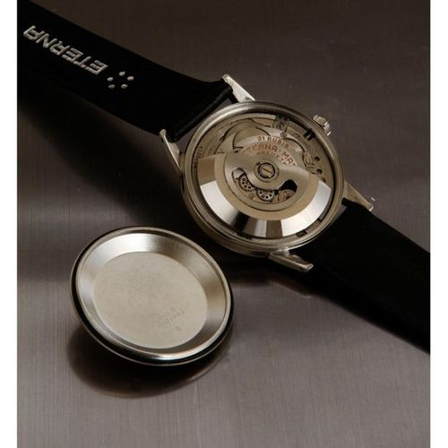 Eterna Matic, stopwatch, circa 1960.X000D_  An automatic steel watch with a scre…