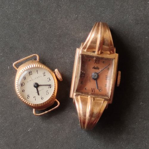 Two ladies' wristwatch cases in yellow gold 750°/°°, Gross weight: 17.7 g