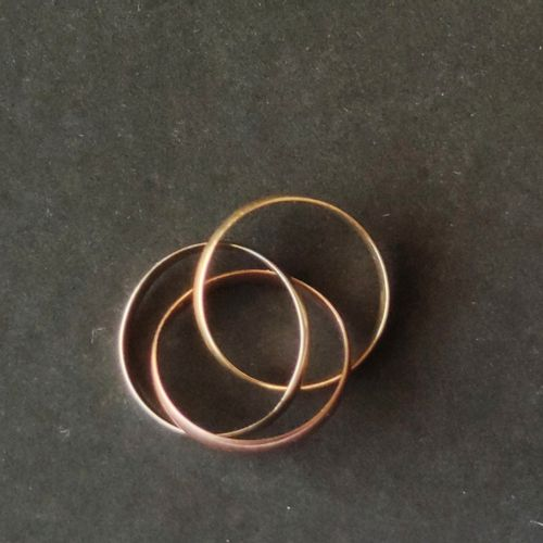 Three ring wedding band in three golds 750°/°° Weight : 3.8 g, Finger size : 47