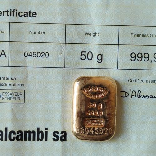Two LINGOTINS in yellow gold, 50 grams each, Valcambi Sa and CpOr with unsealed …