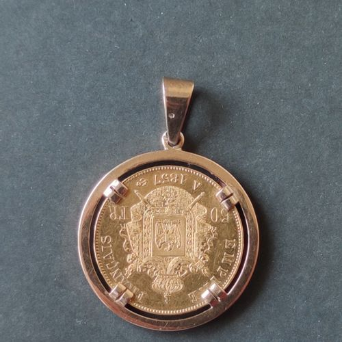Gold coin 750°/00 Napoleon II, 50 francs, set in yellow gold 750°/°° Weight : 22…
