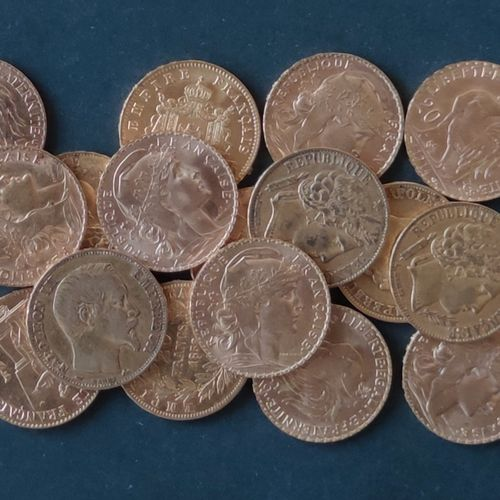 Set of 20 gold coins of 20 Francs France : NIII Genie Coq Marianne and one 10 Fr…