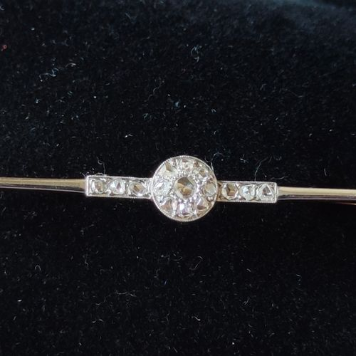 Yellow and white gold brooch or tie pin set with small cut diamonds, Gross weigh…