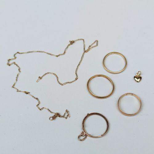 LOT de débris d'or jaune 750°/°° L ENSEMBLE DES BIJOUX SERA CASSE comprenant : t…