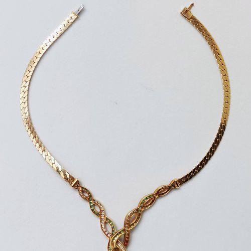 Collier en or jaune 750 °/00 avec motif d'entrelac en chute, agrémenté de petits…