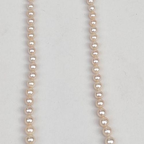 Collier de perles avec fermoir en or jaune 750°/00 Poids brut : 19.51 g(perles…